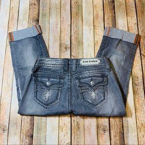Rock Revival Jeans Celine Straight Gray Capris